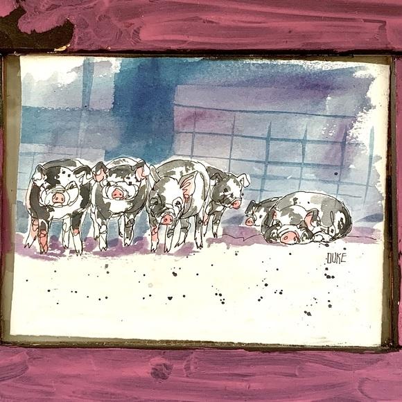 B. Duke Original Watercolor - Barnyard Pigs